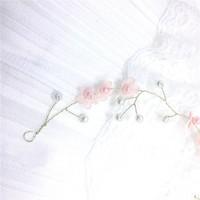 thumb-Goudkleurig Haar Sieraad met Roze Bloemetjes & Roze en Ivoorkleurige Parels-3