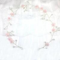 thumb-Goudkleurig Haar Sieraad met Roze Bloemetjes & Roze en Ivoorkleurige Parels-1