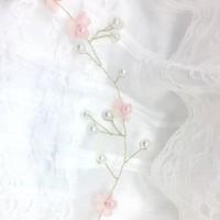 thumb-Goudkleurig Haar Sieraad met Roze Bloemetjes & Roze en Ivoorkleurige Parels-2