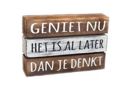 "Houten Tekstplank / Tekstbord 16 x 24 cm ""Geniet nu....."" - Kleur Antique White & Naturel"