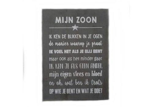 """Houten Tekstplank / Tekstbord 25 x 18 cm """"Mijn zoon...."""" - Kleur Antique Grey"""