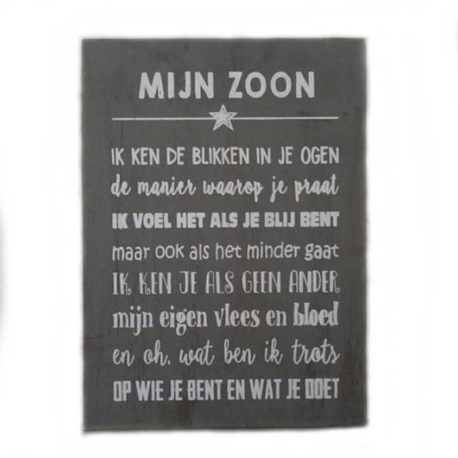 """BonTon - Houten Tekstplank / Tekstbord 25 x 18 cm """"Mijn zoon...."""" - Kleur Antique Grey-1"""