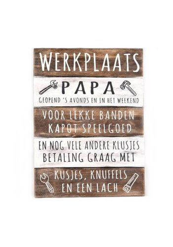 "Houten Tekstplank / Tekstbord 40x30cm ""Werkplaats Papa..."" - Kleur Naturel en Antique White"
