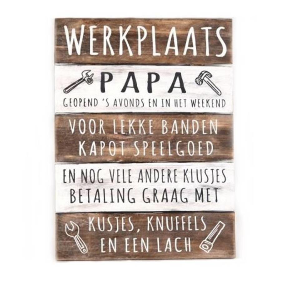 "Houten Tekstplank / Tekstbord 40x30cm ""Werkplaats Papa..."" - Kleur Naturel en Antique White-1"