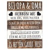 "BonTon BonTon - Houten Tekstplank / Tekstbord 40 x 30 cm ""Bij Opa & Oma..."" - Kleur Naturel en Antique White"
