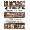 "BonTon Houten Tekstplank / Tekstbord 40x30cm ""Bij Opa & Oma..."" - Kleur Naturel en Antique White"