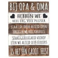 "BonTon - Houten Tekstplank / Tekstbord 40 x 30 cm ""Bij Opa & Oma..."" - Kleur Naturel en Antique White"