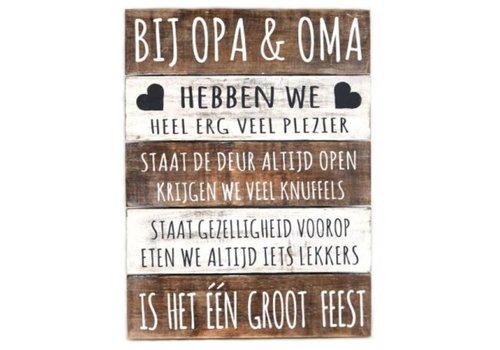 "Houten Tekstplank / Tekstbord 40 x 30 cm ""Bij Opa & Oma..."" - Kleur Naturel en Antique White"