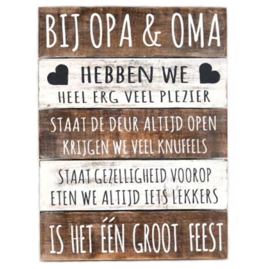 "BonTon - Houten Tekstplank / Tekstbord 40 x 30 cm ""Bij Opa & Oma..."" - Kleur Naturel en Antique White-1"