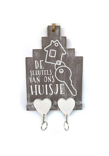 Huisje van Hout met 2 Sleutelhangers 27x15cm - Kleur Antique Taupe