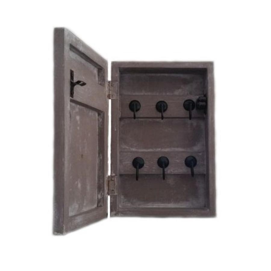 Houten Sleutel Kastje Hart met 6 Haakjes  22cm - Kleur Taupe-2