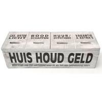 thumb-Houten Huishoudgeld Box 29cm - Kleur Antique White-1