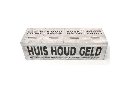 Houten Huishoudgeld Box 29cm - Kleur Antique White