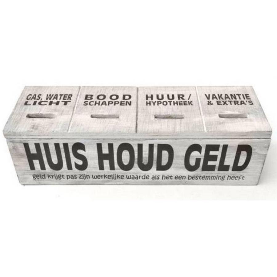 Houten Huishoudgeld Box 29cm - Kleur Antique White-1