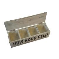 thumb-Houten Huishoudgeld Box 29cm - Kleur Antique White-2