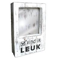 thumb-Fotolijst Hout - Vind ik Leuk - 22x14cm - Kleur Antique White-1