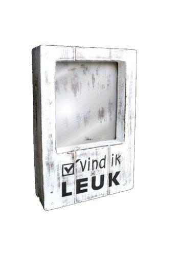 Fotolijst Hout - Vind ik Leuk - 22x14cm - Kleur Antique White