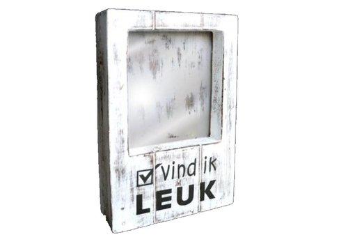 Fotolijst Hout - Vind ik Leuk - 22 x 14 cm - Kleur Antique White
