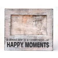 thumb-Fotolijst Hout - Happy Moments - 15,5x17cm - Kleur Antique White-2