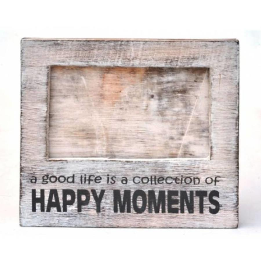 Fotolijst Hout - Happy Moments - 15,5x17cm - Kleur Antique White-2