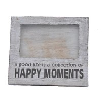 thumb-Fotolijst Hout - Happy Moments - 15,5x17cm - Kleur Antique White-1