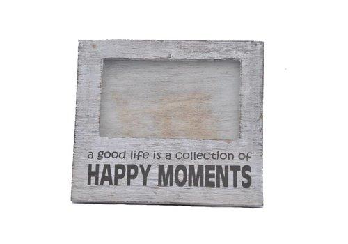 Fotolijst Hout - Happy Moments - 15,5 x 17cm - Kleur Antique White