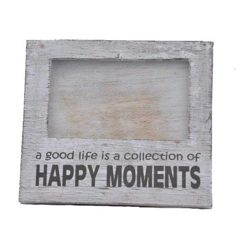 Fotolijst Hout - Happy Moments - 15,5x17cm - Kleur Antique White