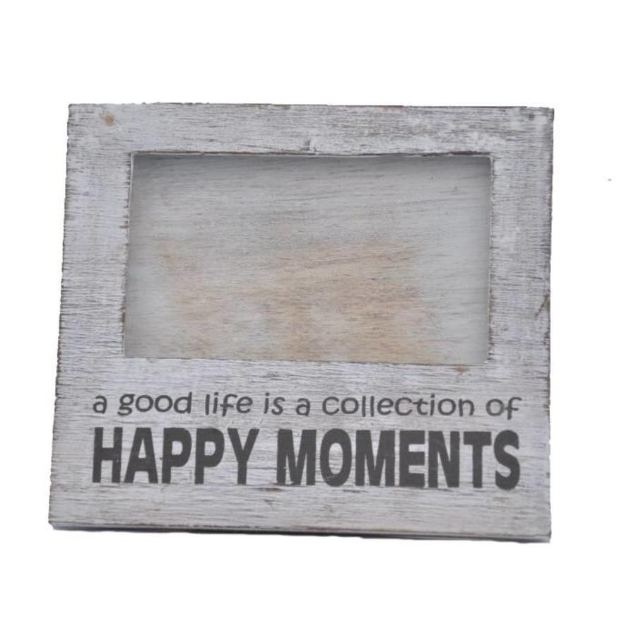 Fotolijst Hout - Happy Moments - 15,5x17cm - Kleur Antique White-1