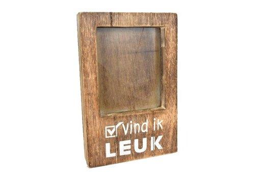 Fotolijst Hout - Vind ik Leuk - 22x14cm - Kleur Naturel