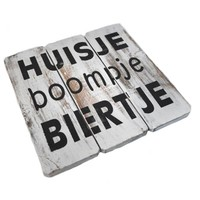 """thumb-Houten Tekstplank / Tekstbord 20cm """"Huisje Boompje Biertje"""" - Kleur Antique White-2"""