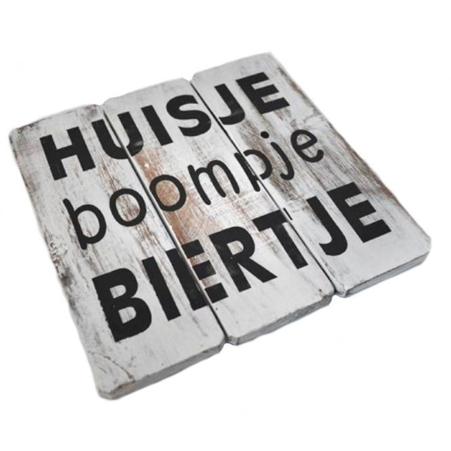 """BonTon - Houten Tekstplank / Tekstbord 20 cm """"Huisje Boompje Biertje"""" - Kleur Antique White-2"""