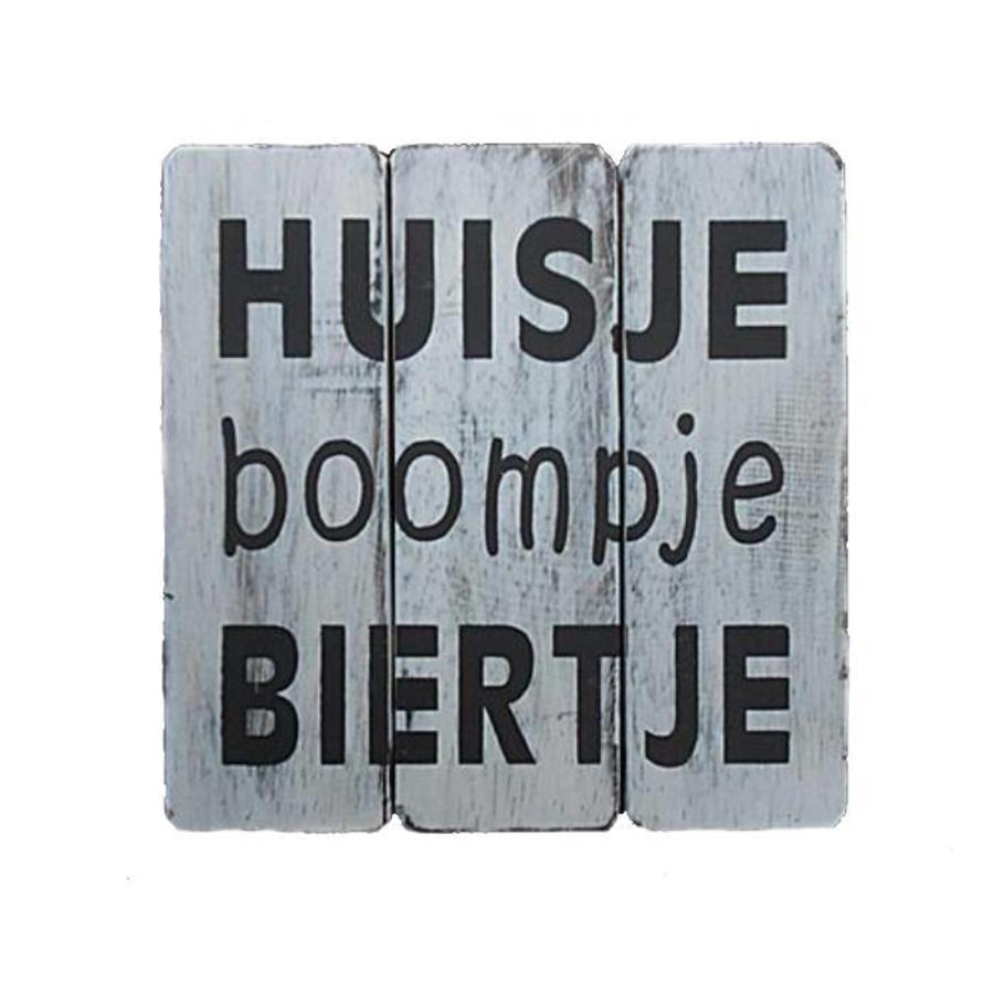 """BonTon - Houten Tekstplank / Tekstbord 20 cm """"Huisje Boompje Biertje"""" - Kleur Antique White-1"""