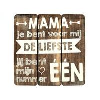 """BonTon - Houten Tekstplank / Tekstbord 20 cm """"Mama jij bent voor mij de liefste...."""" - Kleur Naturel"""