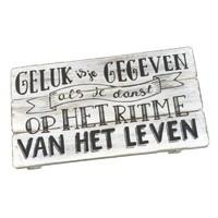 "thumb-Houten Tekstplank / Tekstbord 17x30cm ""Geluk is je gegeven....'' - Kleur Antique White-1"
