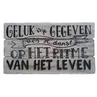 "thumb-Houten Tekstplank / Tekstbord 17x30cm ""Geluk is je gegeven....'' - Kleur Antique White-2"