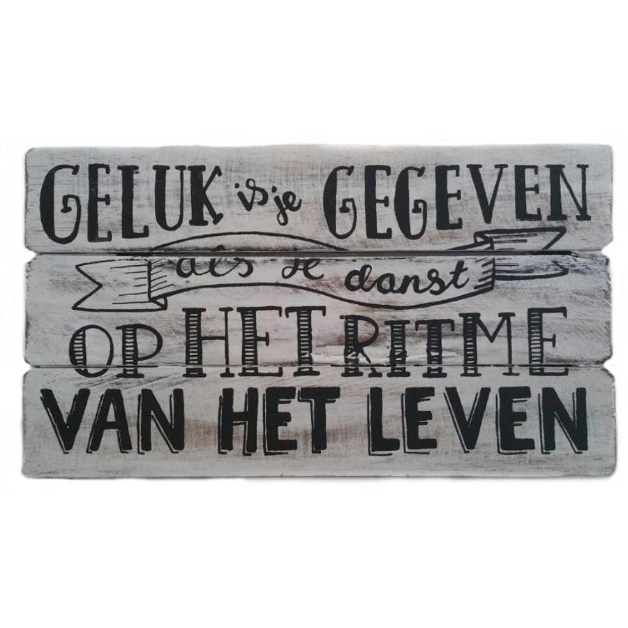 "Houten Tekstplank / Tekstbord 17x30cm ""Geluk is je gegeven....'' - Kleur Antique White-2"