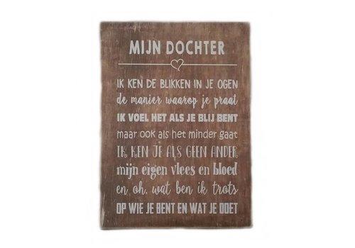 """Houten Tekstplank / Tekstbord 25X18cm """"Mijn dochter...."""" - Kleur Naturel"""
