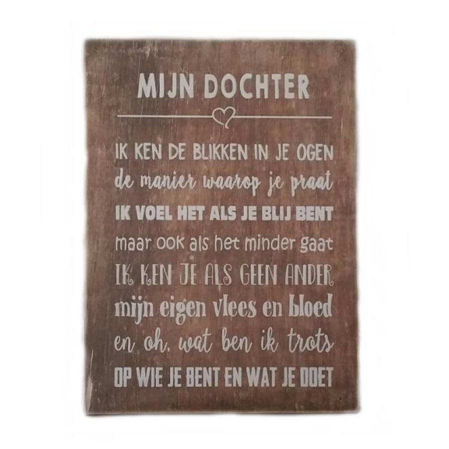 """Houten Tekstplank / Tekstbord 25X18cm """"Mijn dochter...."""" - Kleur Naturel-1"""