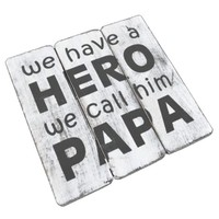 "thumb-Houten Tekstplank / Tekstbord 20cm ""We have a HERO and we call him PAPA"" - Kleur Antique White-1"
