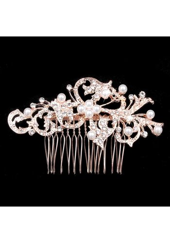 Stijlvolle Rosékleurige Haarkam met Diamanten en Parels