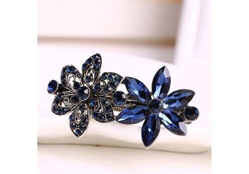 Stijlvolle Bloemen Haarclip - Blauw