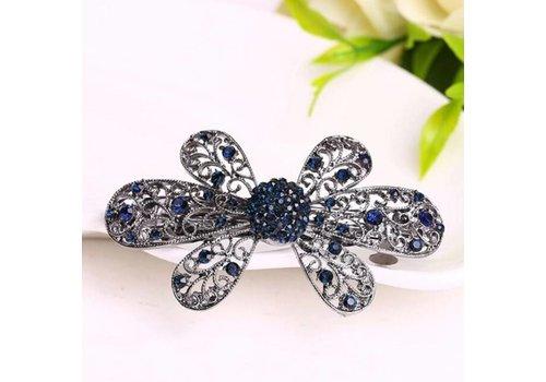 Elegante Bloemen Haarclip - Blauw