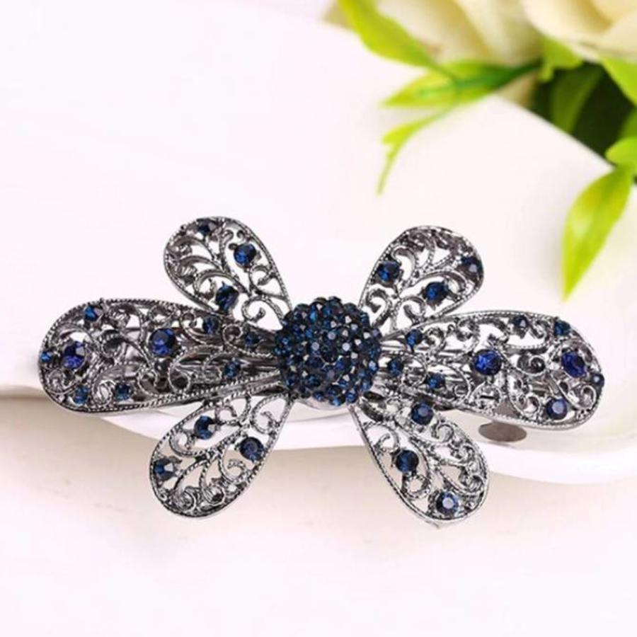 Elegante Bloemen Haarclip - Blauw-1