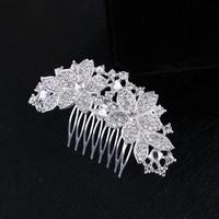 thumb-Moderne Haarkam Flowers bezet met Kristallen-1