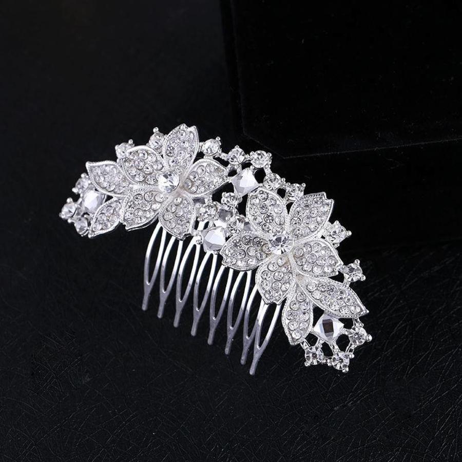 Moderne Haarkam Flowers bezet met Kristallen-1