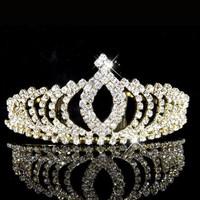thumb-Elegante Goudkleurige Fonkelende Tiara / Kroon-3
