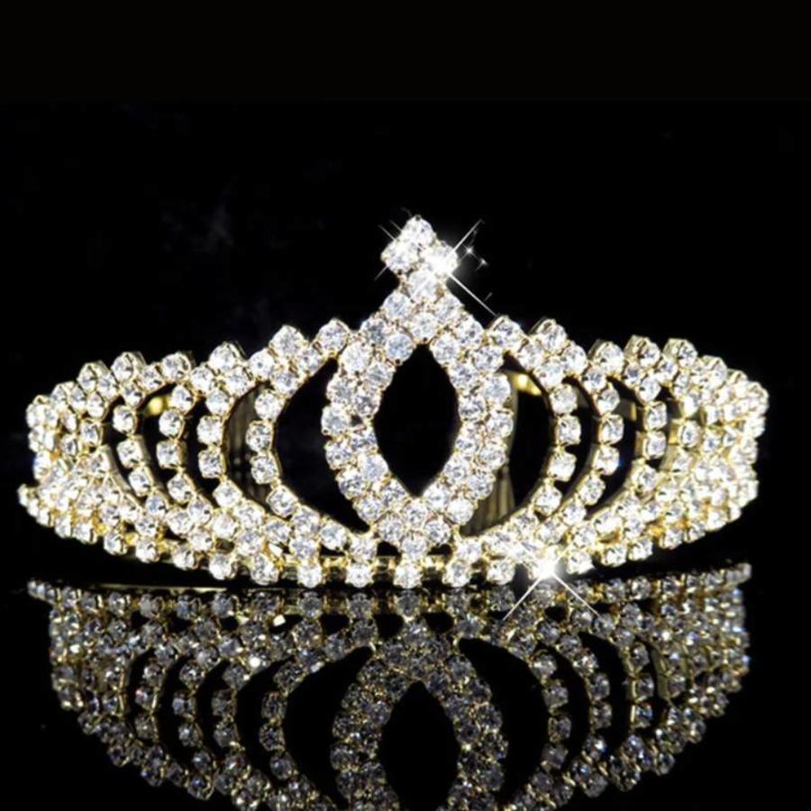 Elegante Goudkleurige Fonkelende Tiara / Kroon-3
