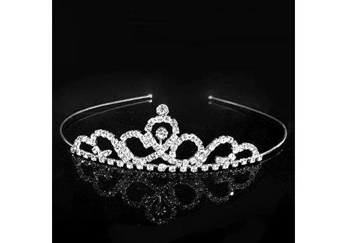 Elegante Zilverkleurige Tiara / Kroon