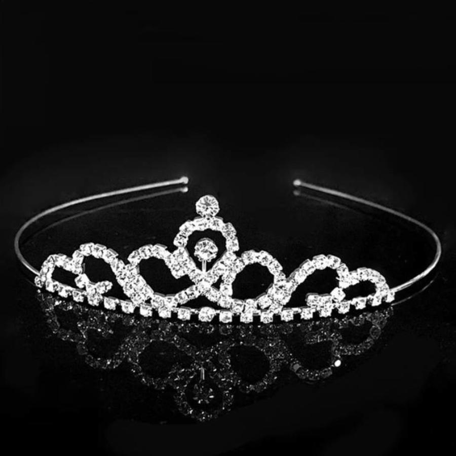Elegante Zilverkleurige Tiara / Kroon-1