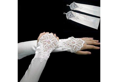 Elegante Bruidshandschoenen van Glanzend Satijn - Wit